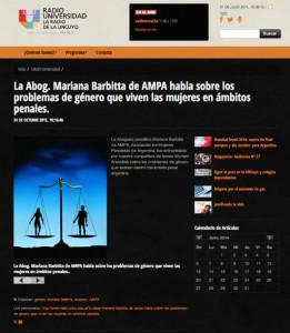 La Abog. Mariana Barbitta de AMPA habla sobre los problemas de género que viven las mujeres en ámbitos penales.