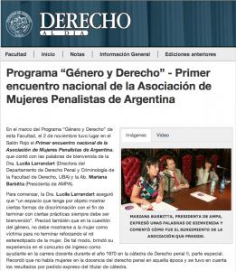 """Programa """"Género y Derecho"""" - Primer encuentro nacional de la Asociación de Mujeres Penalistas de Argentina"""